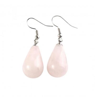 Orecchini a forma di goccia di quarzo rosa, gancio, placcato argento.