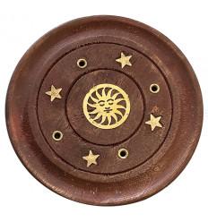 Wooden incense holder for sticks - Sun motif