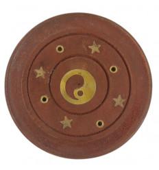 Porta incenso in legno per coni e bastoncini - modello Yin Yang