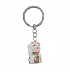 Maneki Neko White Golden Keyring - Lucky Cat