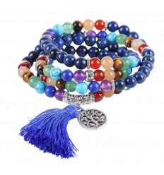 Bracelet multirang 7 chakras, Mala tibétain en Lapis Lazuli et pierres fines, symbole arbre de vie