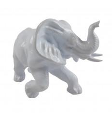 Grande statua di elefante 33x22cm lana bianco lanoso stile moderno