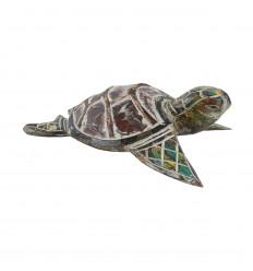 Moyenne tortue - Bois sculpté et peint à la main - 24.5cm