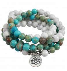 Bracelet Mala 108 perles en Amazonite - Symbole fleur de Lotus