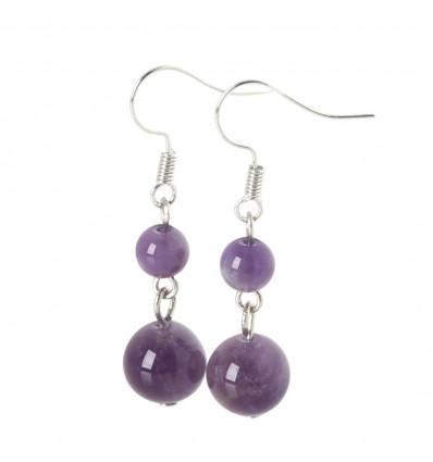 Pair of earrings 2 balls Amethyst