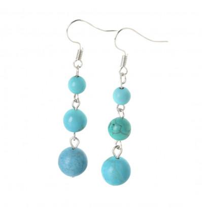 Boucles d'oreilles pendantes 3 boules en Turquoise - Livraison gratuite !!!