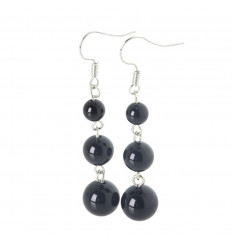 Boucles d'oreilles pendantes 3 boules en Onyx - Livraison offerte !!!