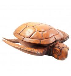 Scatola di gioielli tartaruga, tasche vuote, intaglio in legno artigianale.