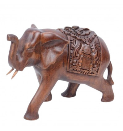 Statue elephant h15cm solid wood carved hand