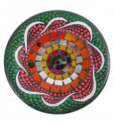 Porta incenso - 15cm in terracotta e mosaico in vetro multicolore