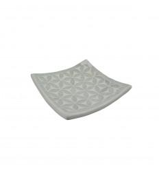 Coupelle en terre cuite avec mosaique de verre grise aux nuances bleutées 25cm