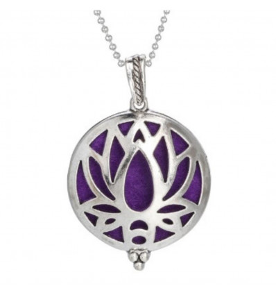 Aromatherapy necklace with perfume diffuser pendant, Lotus Flower motif