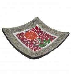 Plat Mosaïque carré en Terre cuite 30x30cm - Décor sable & Fleur colorée