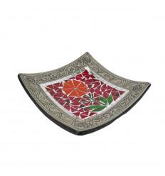 Plat Mosaïque carré en Terre cuite 25x25cm - Décor sable & Fleur colorée
