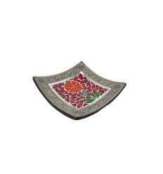 Square Mosaic Dish in Terracotta 20x20cm - Sand decoration - Colorful Flower
