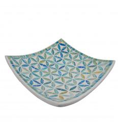 Plat Mosaïque carré en Terre cuite 30x30cm - Mosaïque turquoise & fleurs de vie