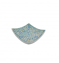 Plat Mosaïque carré en Terre cuite 20x20cm - Mosaïque turquoise & fleurs de vie
