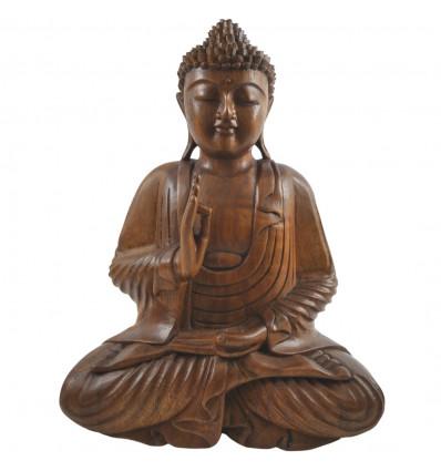 Grande statua di Buddha Zen in legno massello intagliato a mano h40cm