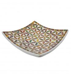 Plat Mosaïque carré en Terre cuite 30x30cm - Décor en Mosaïque de verre Doré et Noir motif Fleur de Vie