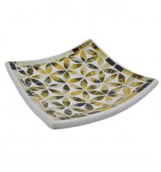 30x30cm Piatto mosaico in terracotta quadrata - Blu Vetro Mosaico Decorazione Motivo Fiore della Vita