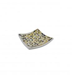 Coupelle Mosaïque carrée en Terre cuite 20x20cm - Décor en Mosaïque de verre Doré et noirmotif Fleur de Vie