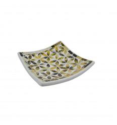 Plat Mosaïque carré en Terre cuite 25x25cm - Décor en Mosaïque de verre Doré et Noir motif Fleur de Vie