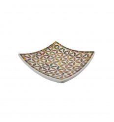 Plat Mosaïque carré en Terre cuite 25x25cm - Décor en Mosaïque de verre Multicolore motif Fleur de Vie