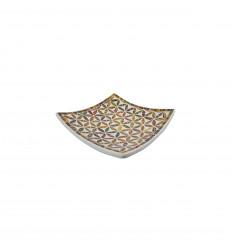 Coupelle Mosaïque carrée en Terre cuite 20x20cm - Décor en Mosaïque de verre Multicolore motif Fleur de Vie