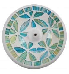 Porta incenso in terracotta e mosaico multicolore per bastoncini - 15cm