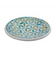 Plat Mosaïque rond en Terre cuite ø23cm - Décor Bleu en Mosaïque de verre motif Fleur de Vie