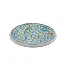 Piatto a mosaico rotondo in terracotta - 20cm - Decorazione blu in vetro Mosaico Motivo Fiore della Vita