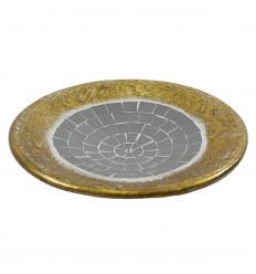 Tazza rotonda in terracotta oro con mosaico in vetro grigio 30cm