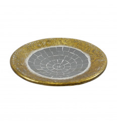 Round gold terracotta cup with 25cm grey glass mosaic