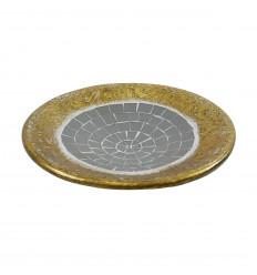 Coupelle ronde en terre cuite dorée avec mosaique de verre grise 25cm