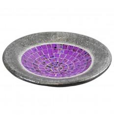 Grand plat ø36cm en Terre cuite et Mosaïque de verre - Coloris Violet