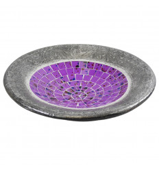 Large dish - 36cm terracotta and glass mosaic - Color Violet