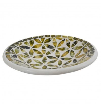 Large dish - 27cm terracotta and glass mosaic - Black color - gold