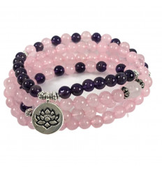 Bracelet Mala 108 beads in Amethyst & rose Quartz natural - Symbol, Lotus flower