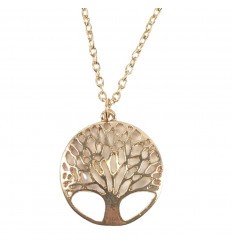 Chain with pendant Tree of Life in gilt metal. Free shipping.