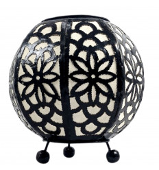 Moroccan bedside lamp in black wrought iron and white fabric ⌀20cm