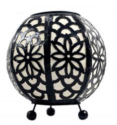 Lampe de chevet marocaine en fer forgé noir et tissu blanc ⌀20cm