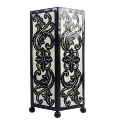 Oriental style lamp 30cm - Black wrought iron and white fabric