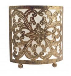 Lampe de chevet Orientale - Fer forgé doré et tissu blanc 18cm
