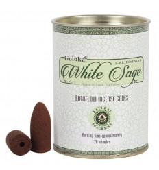 Box of 24 incense cones Backflow Goloka White Sage - Natural Indian Incense