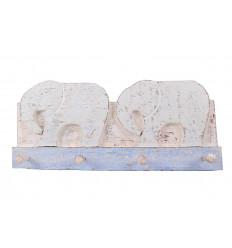 Porte-manteau mural 2 éléphants / 4 crochets - Coloris Bleu