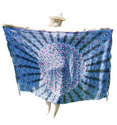 Pareo / sarong / wall hanging 160 x 105cm - Lavender blue, pink, turquoise peacock pattern - silver sequins