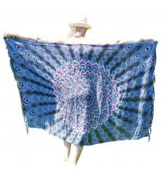 Paréo motif Paon Noir, Bleu, Rose & sequins argentés - 160x110cm