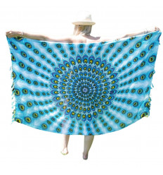 Pareo / sarong / wall hanging 160 x 110cm - Mauve Peacock, Rose and Turquoise Pattern - silver sequins