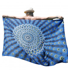 Pareo / sarong / wall hanging 160 x 110cm - Electric Blue Peacock Pattern - silver sequins