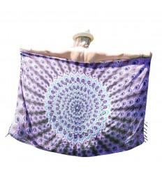 Bali Sarong 160x110cm, Pareo, Scarf - Motif Mandala Violet, Mauve and Turquoise - silver sequins